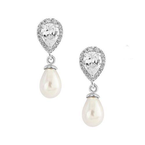 Cubic Zirconia pearl bridal earrings, pearl drop wedding